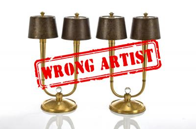 Attribution error for a $3,000 pair of lamps to René PROU